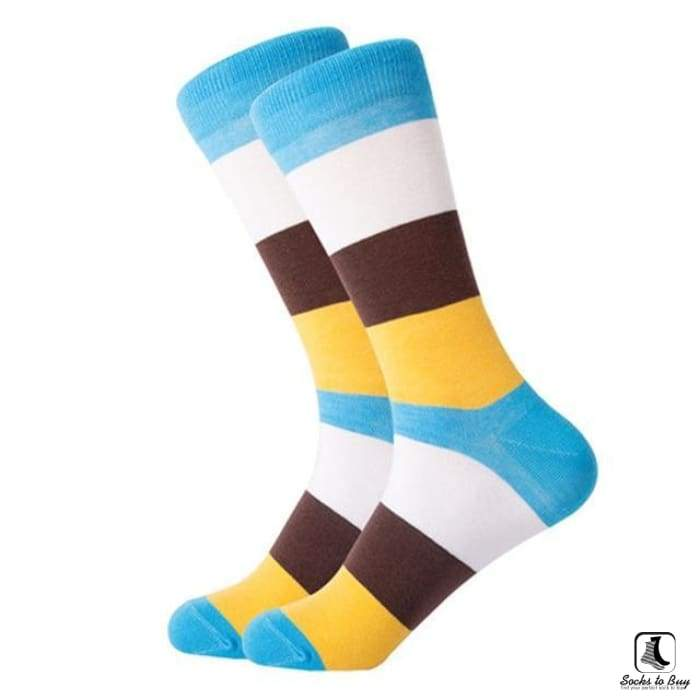 Teal White Brown Yellow Stripes Combed Cotton Socks - Socks to Buy 1
