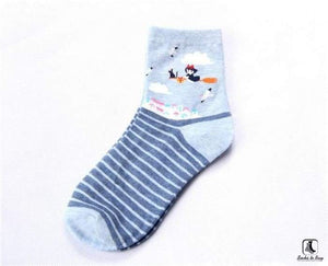 Totoro Inspired Anime Striped Socks