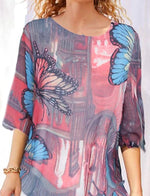 Mariposa Animal Manga Media Escote Redondo Camisa