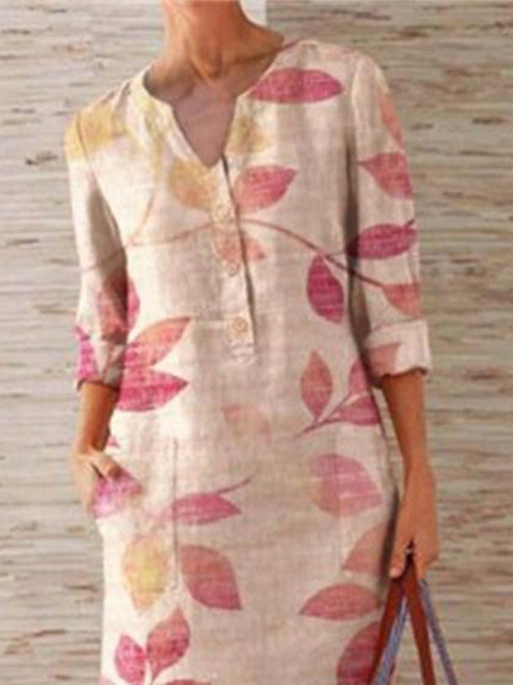 Beige Casual Estampado Manga Media Recto Vestido