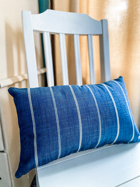 Blue Striped Pillow Cover - Salt and Branch