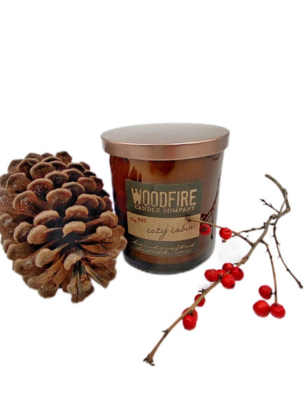 Woodfire Candle Company Cozy Cabin Whiskey Soy Wood Wick Candle - Salt and Branch