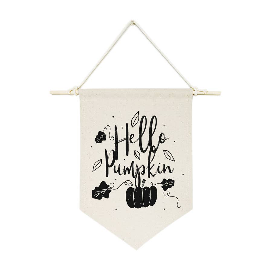 Hello Pumpkin Hanging Wall Canvas Banner - Salt and Branch