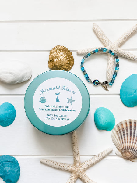 Mermaid Kisses Soy Candle and Bracelet - Salt and Branch