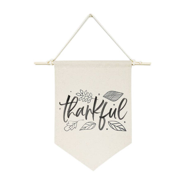 Thankful Hanging Wall Canvas Banner - Salt and Branch