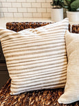 Taupe Striped Linen Pillow Cover - Salt and Branch