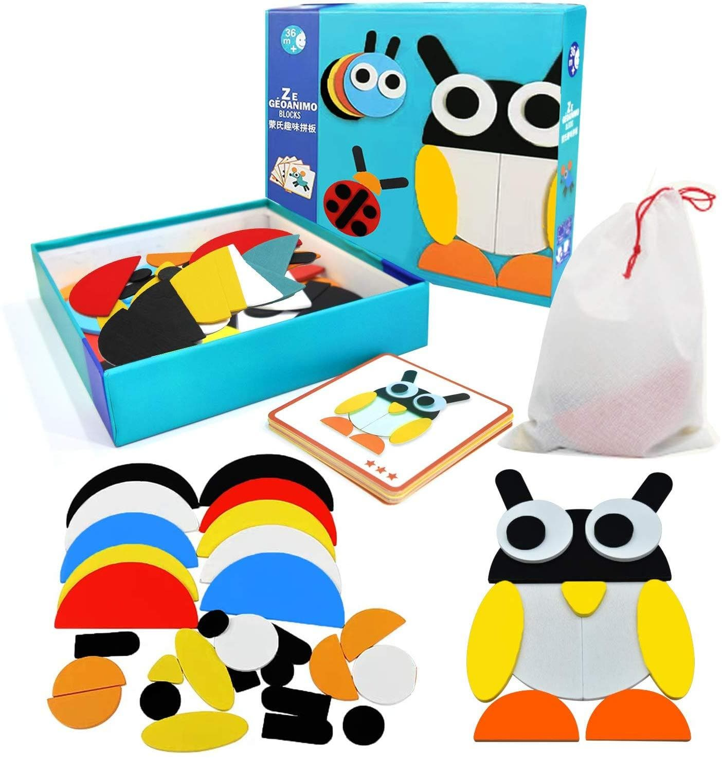 WisToyz Wooden Pattern Blocks, Animals Jigsaw Geometric Shape Puzzle, Educational Toys Gift