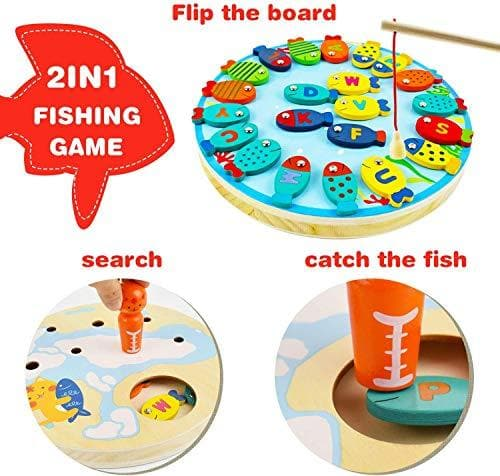 WisToyz 2 in1 Fishing Game, Wooden Fishing Game Toy