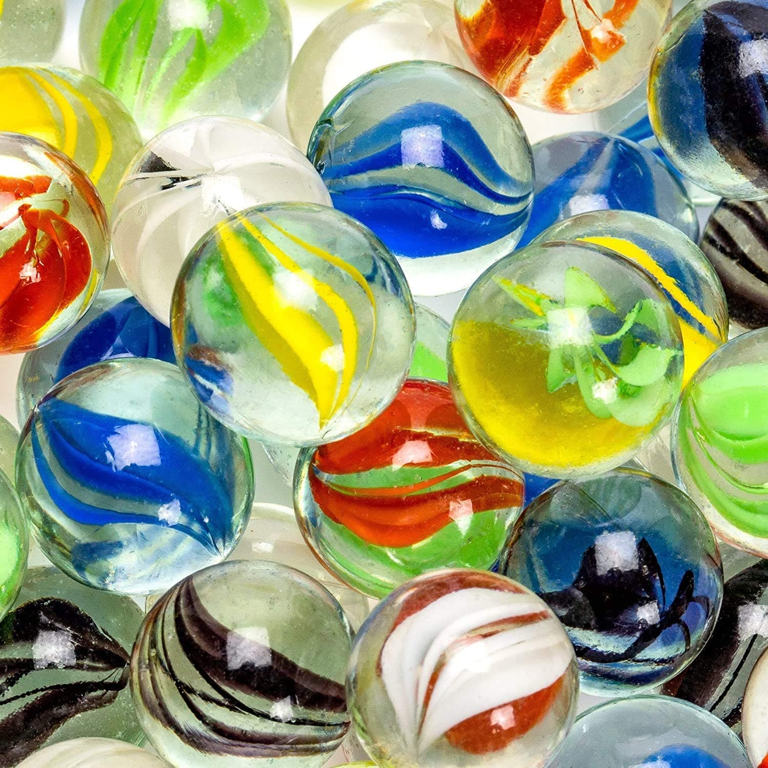 WisToyz Traditional Assorted Colorful Classic Retro Glass Marbles