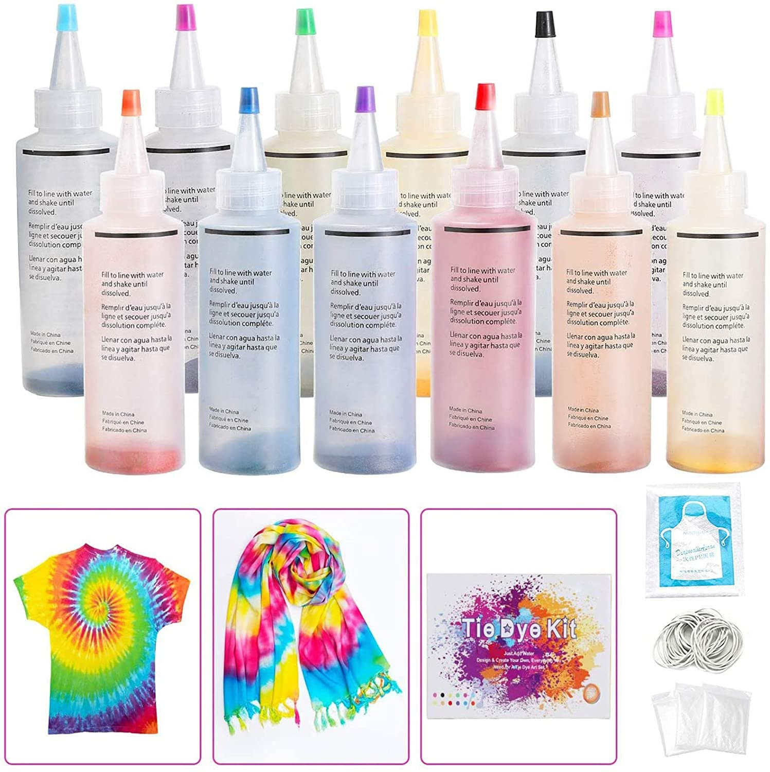 WisToyz Tie Dye Set for Kids (12pcs, 120ML)