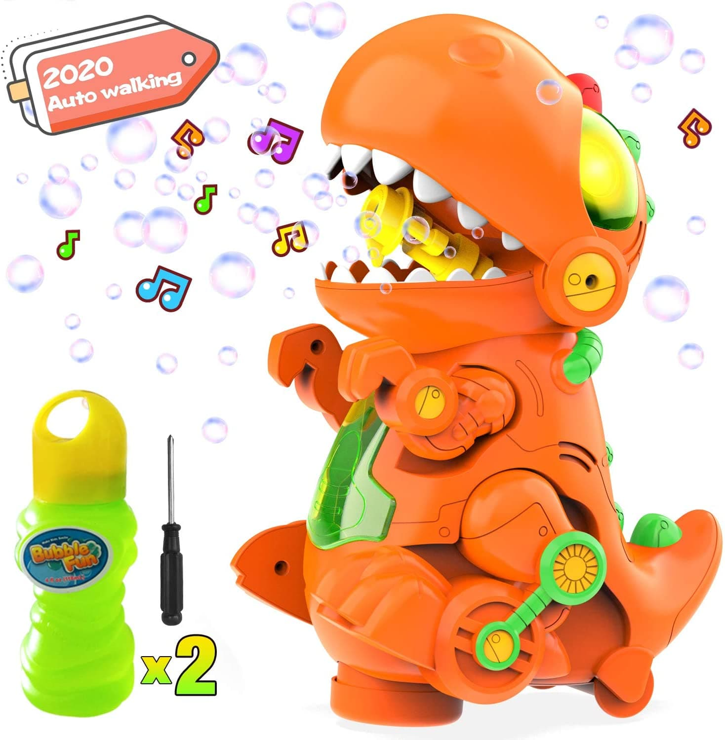 WisToyz Dinosaur Bubble Machine,Music and LED Lights,Auto bubble blower