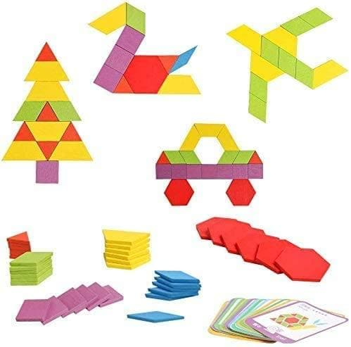 WisToyz Wooden Pattern Blocks Set