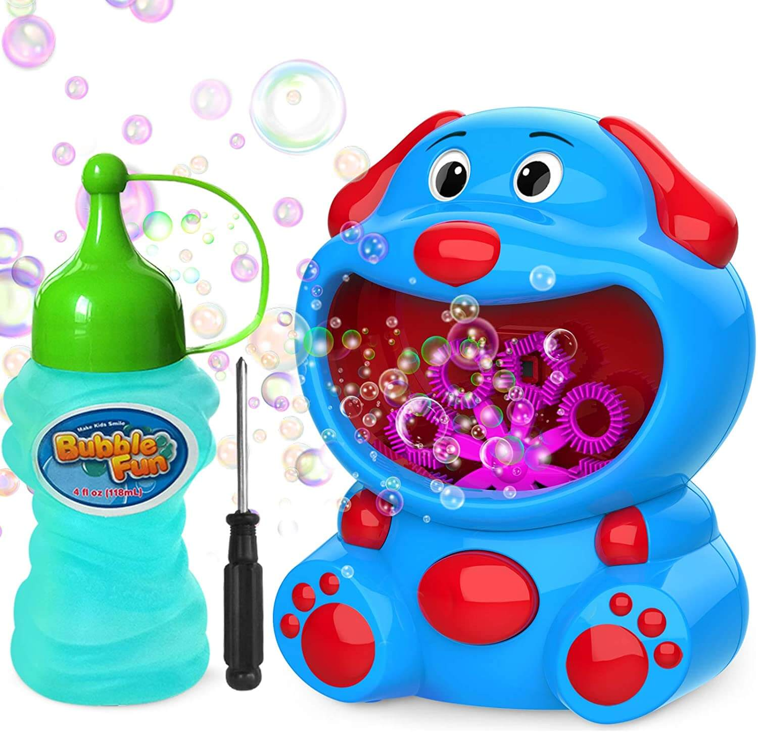 WisToyz Super Dog Bubble Blower,Auto Bubble Machine, 500+ Bubbles Per Minute