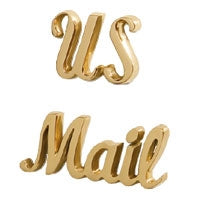 Keystone Signature Polished Brass Scripted US Mail