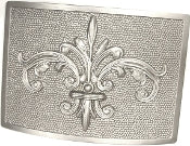 Fleur de Lis Plaque in Satin Nickel