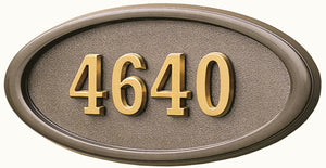 H2-LOBR-XX - Large Oval - All Bronze w/ Satin Brass Numbers
