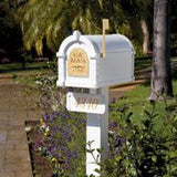 Keystone White post with address plaque
