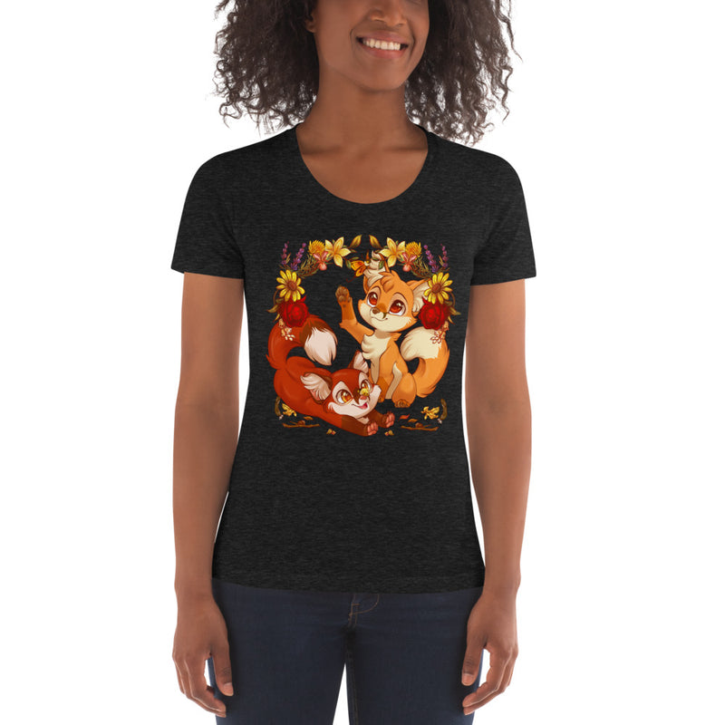 Autumn Foxes Fitted Women's Crew Neck T-shirt