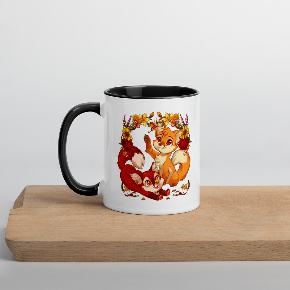 Autumn Foxes Colored Mug