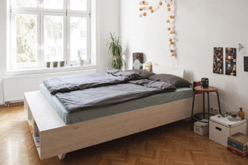 Design Solid Wood Bed With Style And Storage Space Organic Solid