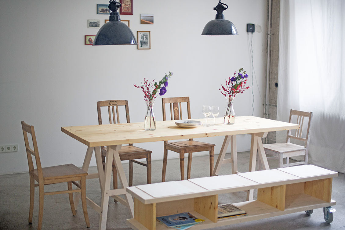 Dining room example with design table top, table stands, design bench, antique chairs & Bauhaus Industrial Lamp