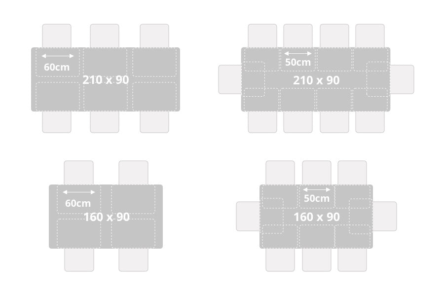 Table size and number of persons - Comfortable seating vs. narrow seating