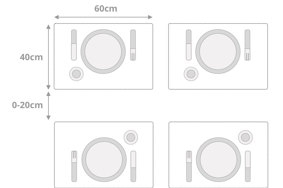 Place size per person / place setting for dining tables