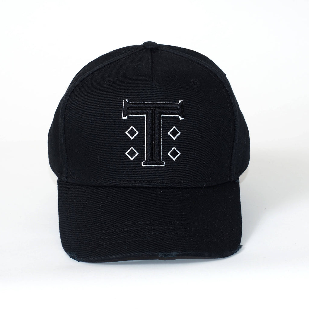 Black Distressed Cap with Signature T Logo - The Brand Base