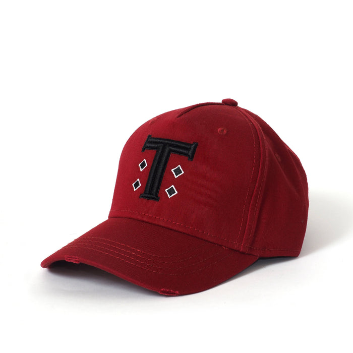 Burgundy Distressed Cap with Signature T Logo - The Brand Base