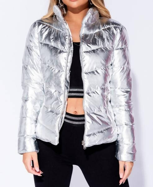 Foil Zip Up Front Puffer Coat