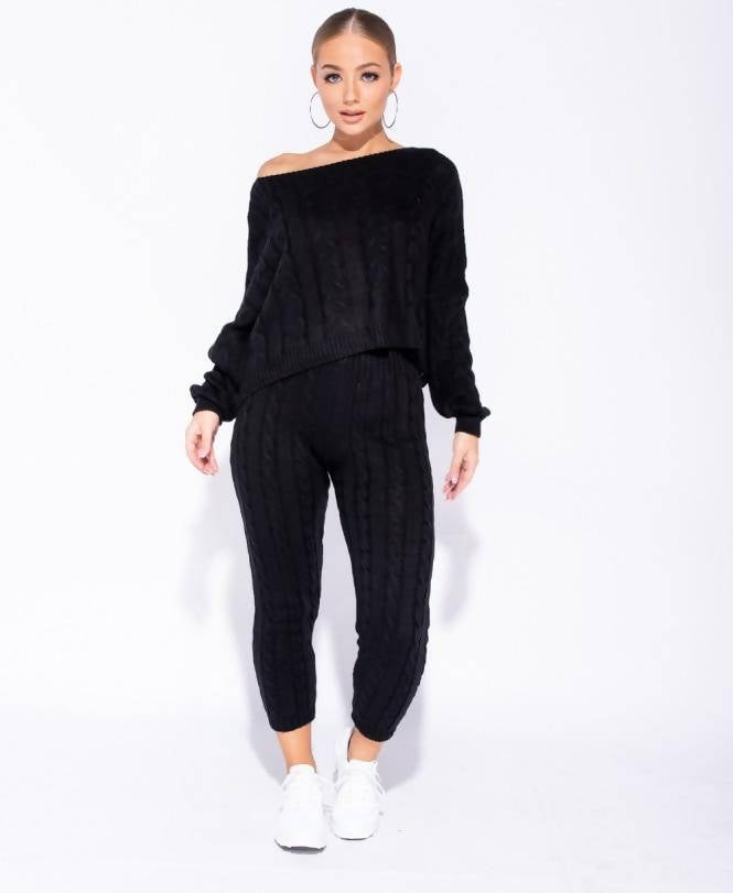 Cable Knit Cropped Top lounge wear Set