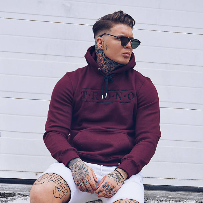 Burgundy Hoodie with Black Diamond Embroidered Hood - The Brand Base