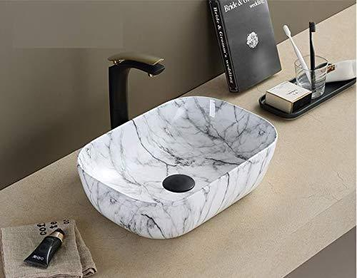 Ceramic Bathroom Sink Above Counter Vessel Sink Bowl Wash Basin Vanity Sink in Rectangle shape Countertop Satvario Marble White 46 X 32 X 14 Cm - Home Store Cart