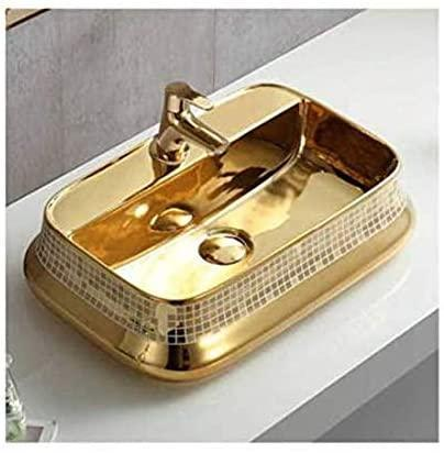 Ceramic Bathroom Sink Above Counter Vessel Sink Bowl Wash Basin Vanity Sink in rectangle shape Countertop gold color 52 X 36 X 13 Cm - Home Store Cart