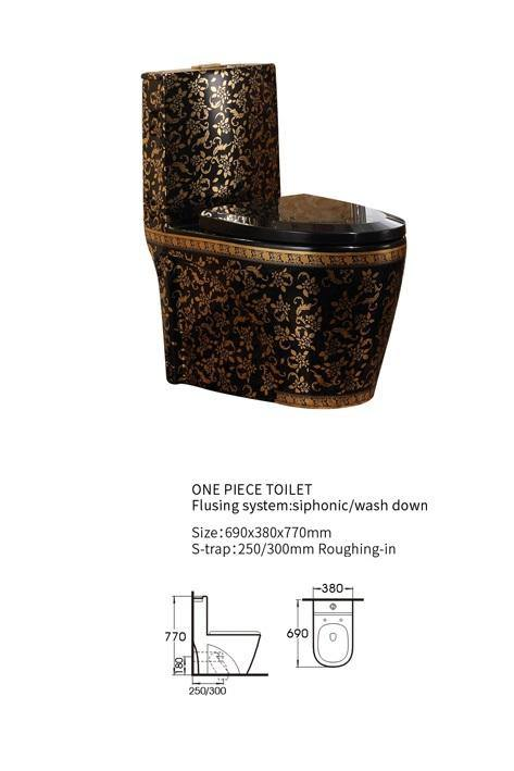 Ceramic One Piece Dual Flush Toilet with Soft Closing Seat Black Gold Color - Home Store Cart