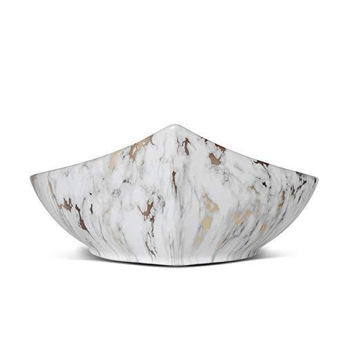 Ceramic Bathroom Sink Above Counter Vessel Sink Bowl Wash Basin Vanity Sink in Leaf shape Countertop Gold White 57 X 36 X 16 Cm