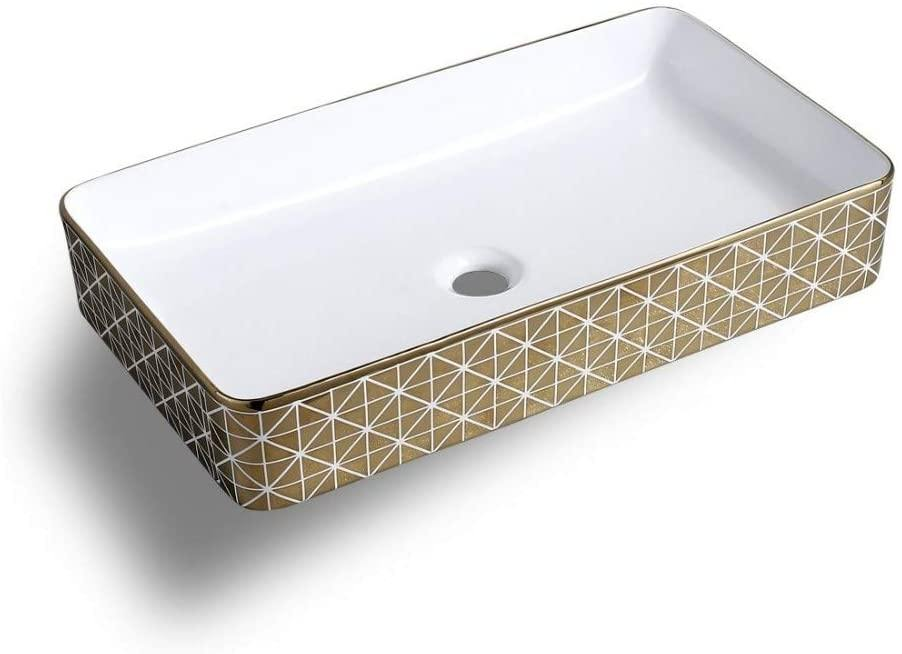 Ceramic Rectangle Shape Above Counter Ceramic Basin / Bathroom Vanity Bowl / Basin Sink / Vessel Wash Basin Sink 610 x 335 x 110 MM White Gold Color - Home Store Cart