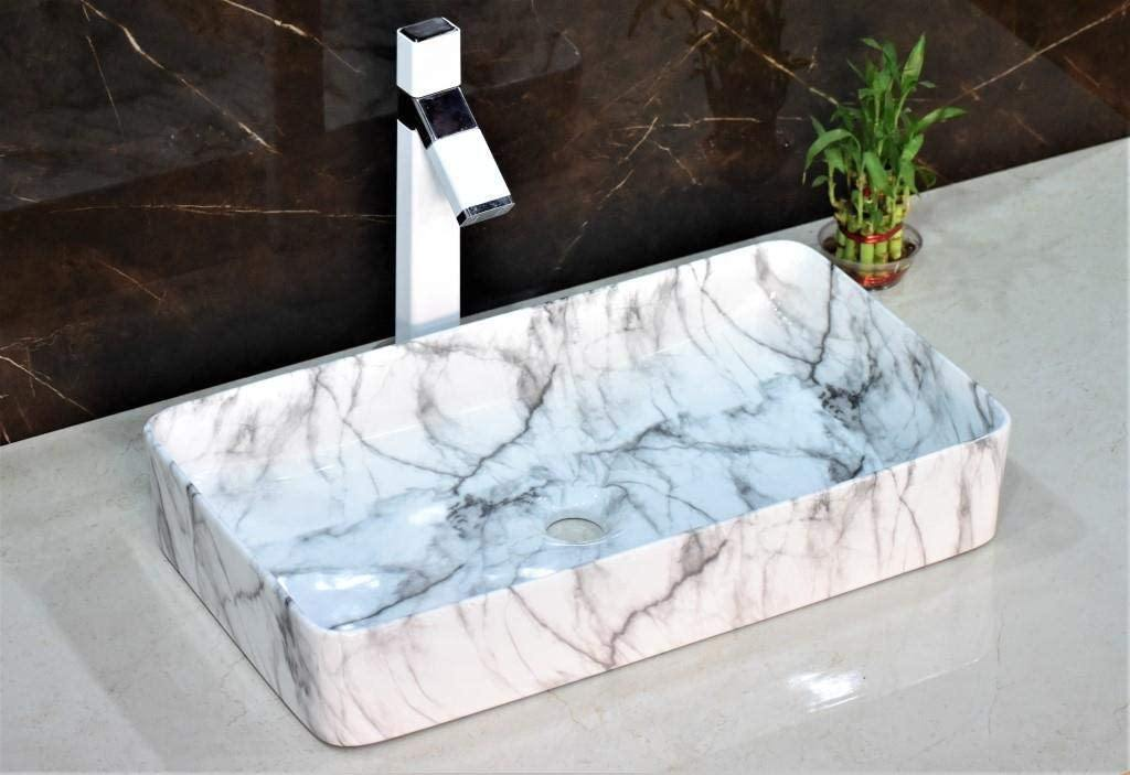 Ceramic Rectangle Shape Above Counter Ceramic Basin / Bathroom Vanity Bowl Sink / Vessel Wash Basin Sink 610 x 335 x 110 MM White Marble Pattern