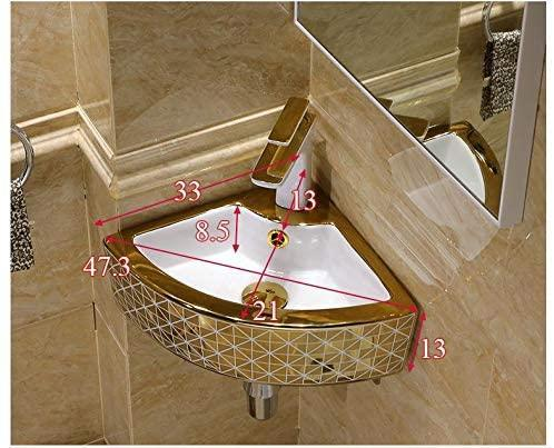 Ceramic Wall Mounted or Wall Hanging Corner Wash Basin Wall Sink Wash Bowl 44 X 32 X 13 Cm - InArt Store