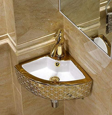 Ceramic Wall Mounted or Wall Hanging Corner Wash Basin Wall Sink Wash Bowl Golden Color 44 X 32 X 13 Cm