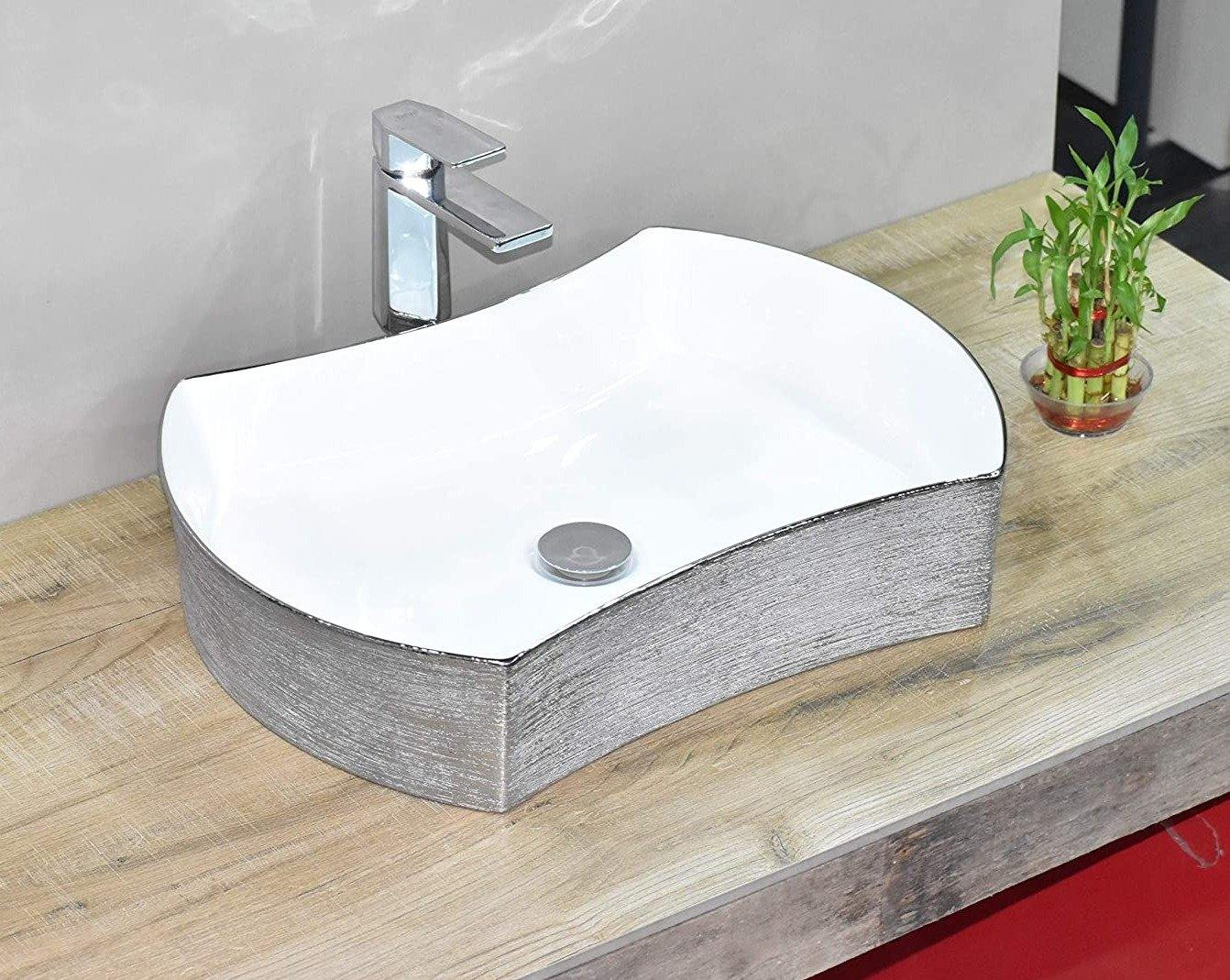 Ceramic Bathroom Sink Above Counter Vessel Sink Bowl Wash Basin Vanity Sink in Rectangle shape Countertop White Silver Color 540 X 380 X 125 MM - Home Store Cart