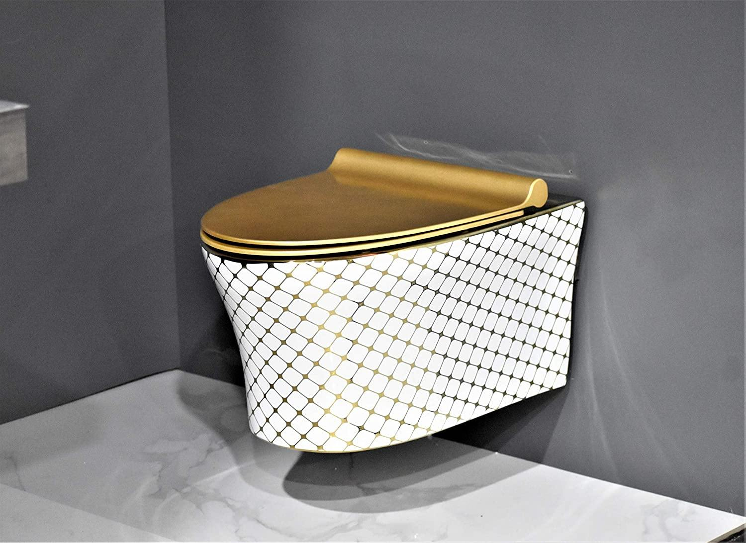 Wall Hung Toilet Bowl Bathroom Oval Toilet Bowl Wall Mount Toilet With Rimless Flush 56 x 38 x 36 CM Gold White Color