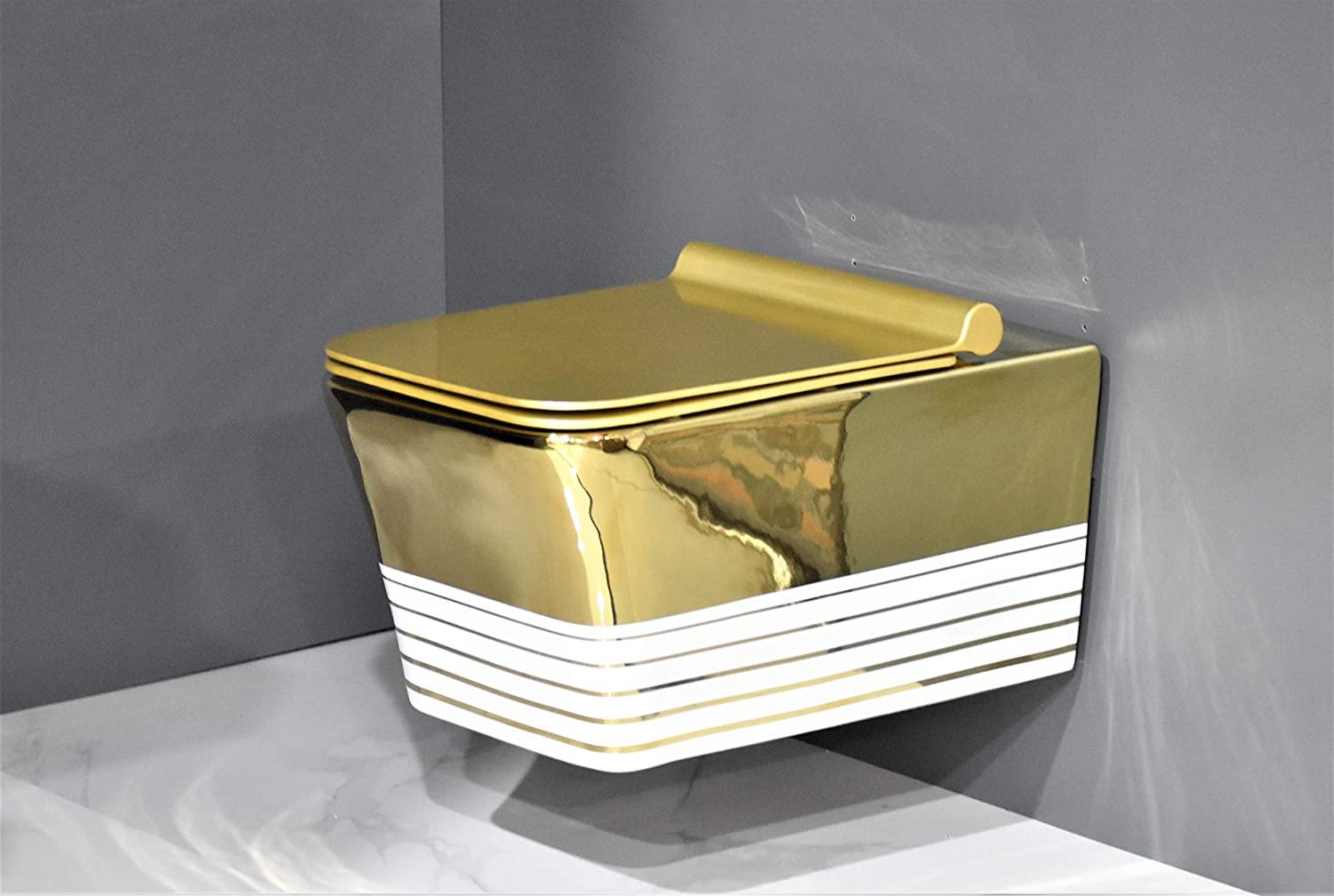 Wall Hung Toilet Bowl Bathroom Square Toilet Bowl Wall Mount Toilet With Rimless Flush 53.5 x 36 x 35.5 CM Gold Color Stripes - Home Store Cart