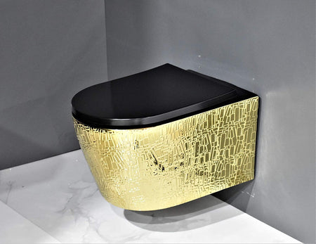 Wall Hung Toilet Bowl Bathroom Oval Toilet Bowl Wall Mount Toilet With Rimless Flush 53 x 36 x 35 CM Gold Black Color