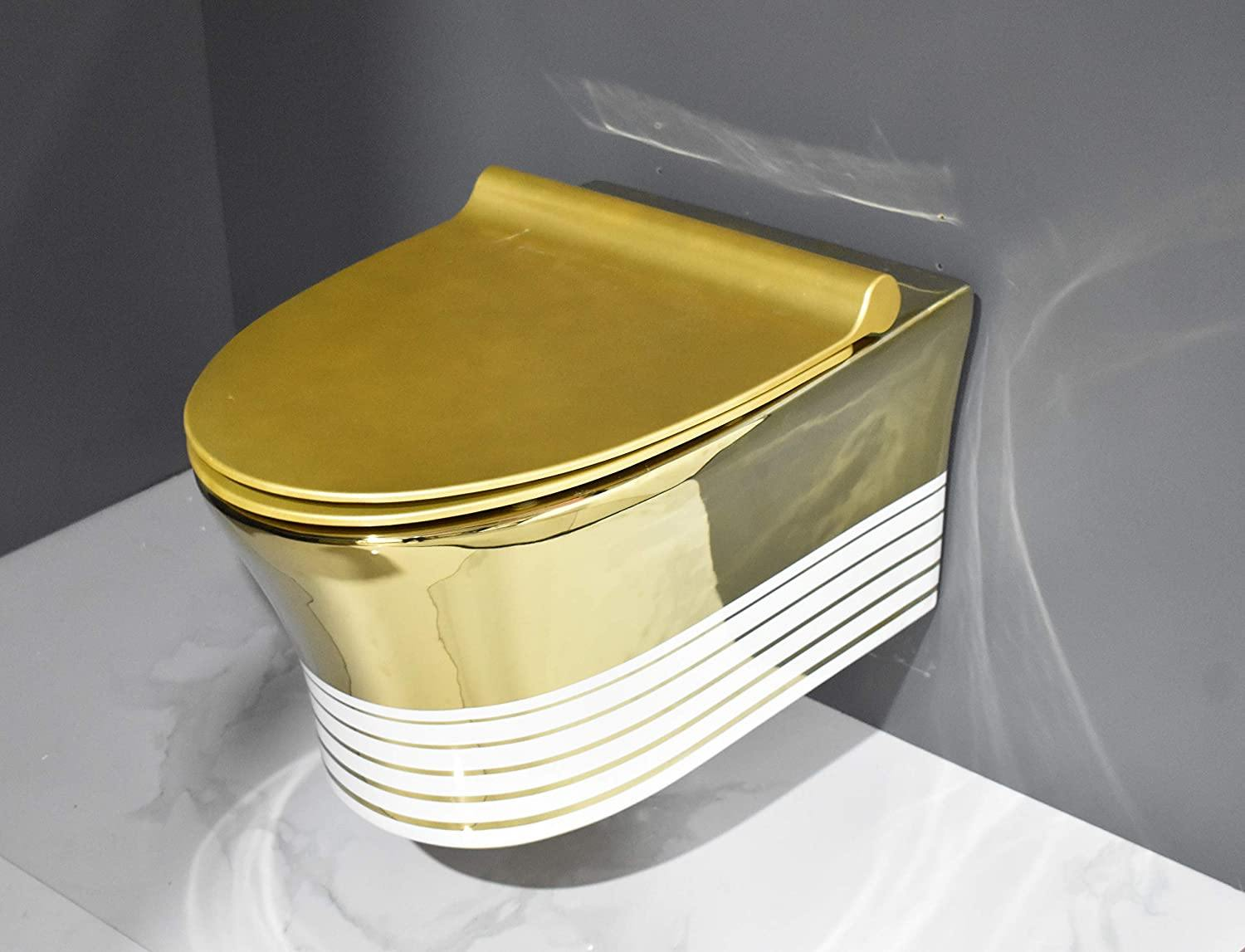 Wall Hung Toilet Bowl Bathroom Oval Toilet Bowl Wall Mount Toilet With Rimless Flush 56 x 38 x 36 CM Gold White Color Stripes