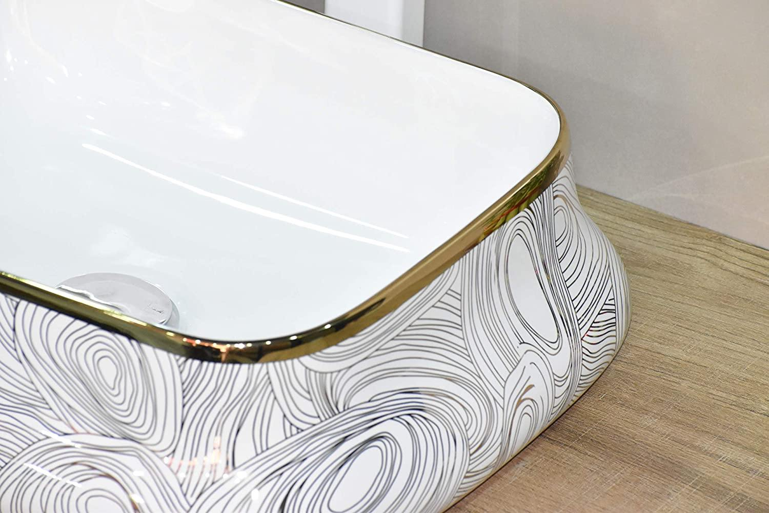 Lavatory Above Counter Ceramic Bathroom Vessel Sink Art Wash Basin Rectangle shape in Glossy Finish White Gold Color 46 x 35 x 15 CM