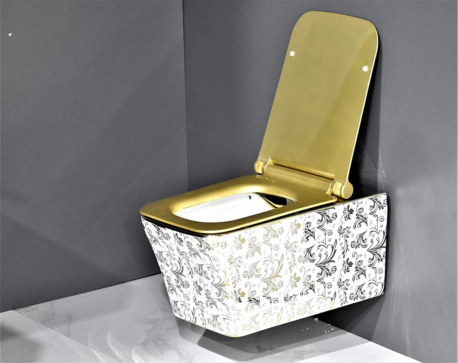 Wall Hung Toilet Bowl Bathroom Square Toilet Bowl Wall Mount Toilet With Rimless Flush 53.5 x 36 x 35.5 CM Gold Leaf Pattern