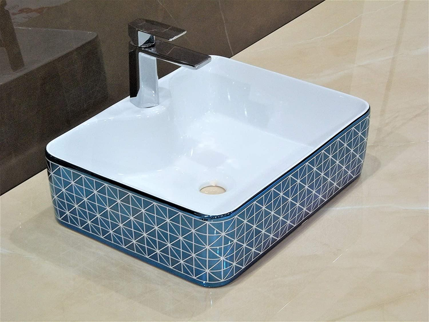 Lavatory Above Counter Ceramic Bathroom Vessel Sink Art Wash Basin Rectangle shape in Glossy Finish White Blue Color 48 x 37 x 13.5 CM - Home Store Cart