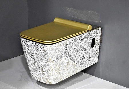 Wall Hung Toilet Bowl Bathroom Square Toilet Bowl Wall Mount Toilet, Golden Color 57 x 36 x 35 CM Golden Color Leaf Pattern