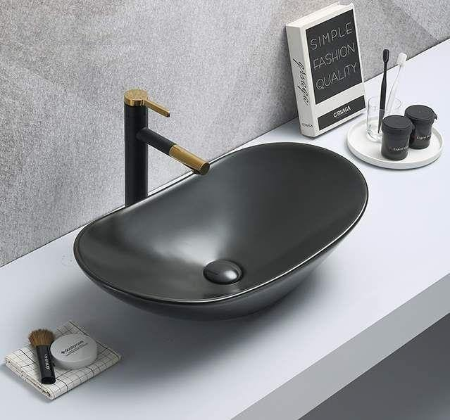 Ceramic Bathroom Sink Above Counter Vessel Sink Bowl Wash Basin Vanity Sink in Oval shape Countertop Black Matte color 63.5 x 35 x 16 CM